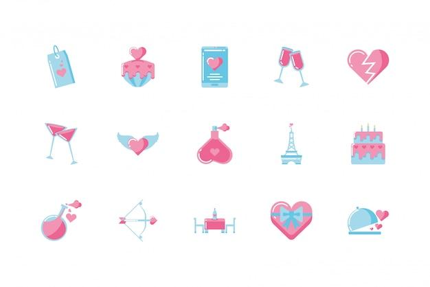 Insieme dell'icona di amore e san valentino