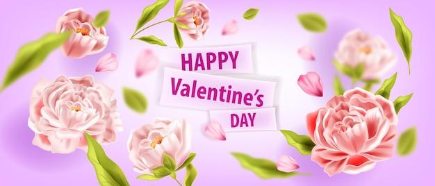 Amore sfondo floreale vettoriale o biglietto di auguri di san valentino con peonie, fiori, petali volanti. poster promozionale regalo romantico vacanza, banner primavera matrimonio. fondo del fiore 3d di giorno di biglietti di s. valentino