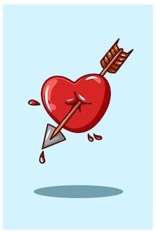 Amore con l'illustrazione della freccia