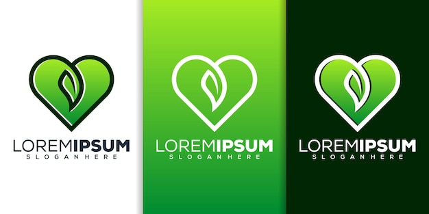 Amore con il design del logo a foglia