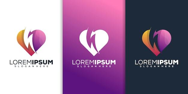 Love with thunder logo design