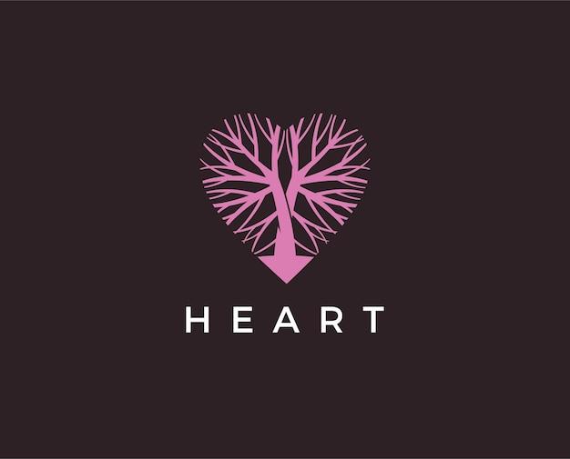 Modello di logo di legno di amore. disegno dell'illustrazione dell'albero dell'amore, illustrazione del logo