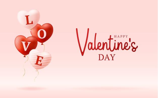 Parola d'amore su palloncini cuori realistici. illustrazione di san valentino