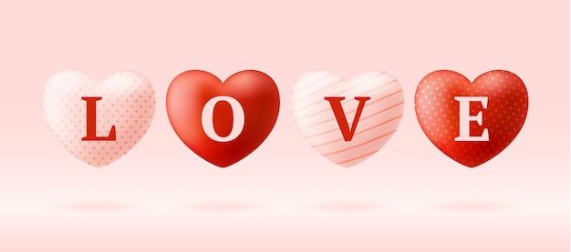 Parola d'amore su cuori realistici. illustrazione di san valentino