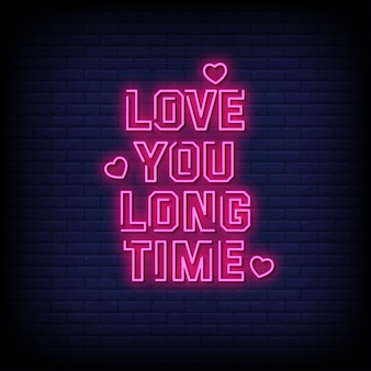 Ti amo testo in stile insegne al neon da molto tempo