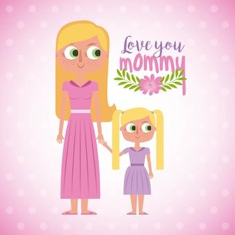 Ti amo scheda floreale mamma