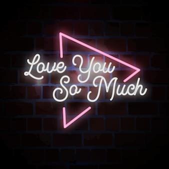 Ti amo così tanto scritte al neon per san valentino