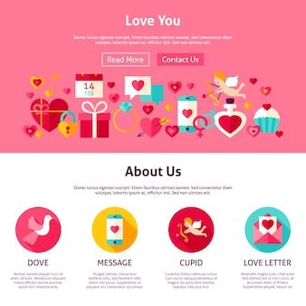 Ti amo il design del sito web. illustrazione vettoriale di stile piatto per banner web e pagina di destinazione. buon san valentino per le vacanze.