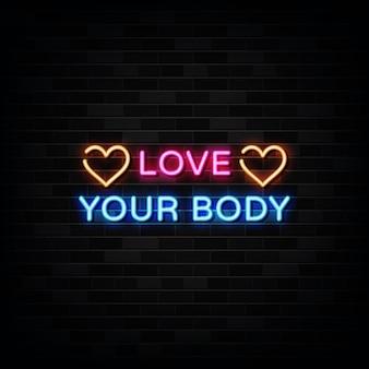 Amo la tua insegna al neon del corpo. insegna al neon del modello di progettazione Vettore Premium