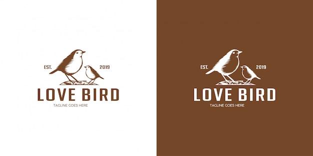 Emblema di progettazione logo lovebird, vintage, timbro, badge, modello di logo vettoriale