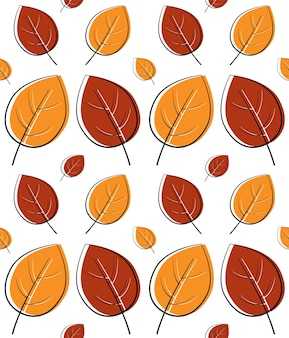 Bel motivo di foglie autunnali in caldi colori chiari, ripetizione senza soluzione di continuità. stile piatto alla moda. ottimo per sfondi, abbigliamento e design editoriale, biglietti, carta da regalo, decorazioni per la casa, ecc.