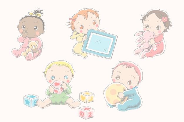 Bel bambino con i loro giocattoli in stile linea