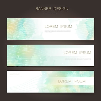 Banner adorabili impostare modello di progettazione con sfondo sfocato