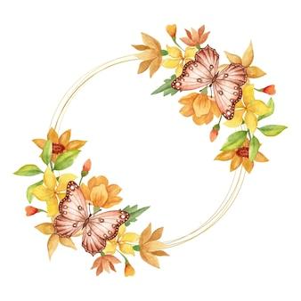 Bella bella cornice di fiori primaverili ad acquerello