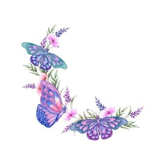 Adorabile bellissimo fiore primaverile ad acquerello con farfalle