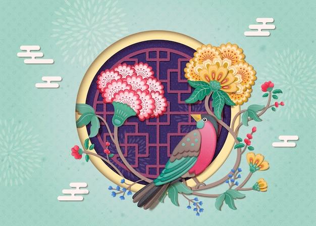 Disegno di capodanno dipinto di uccelli e fiori adorabili in stile argilla