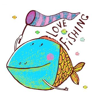 Progettazione divertente della cartolina d'auguri del pesce adorabile del fumetto disegnata a mano