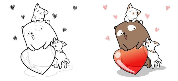 Pagina da colorare di gatti adorabili e con cuore di gelatina
