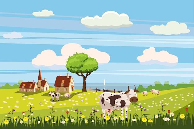 Bel paesaggio rurale di campagna, mucche al pascolo, fattoria, fiori, pascolo