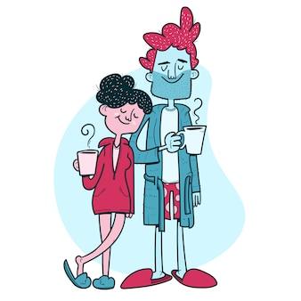 Bella coppia che beve il caffè