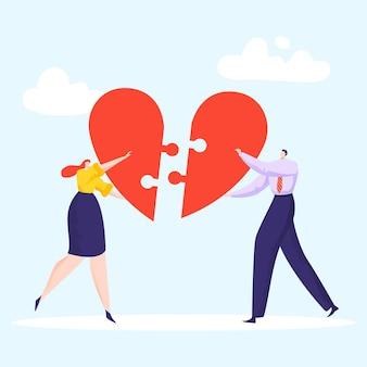 Bella coppia compone puzzle cuore, amorevole donna e uomo