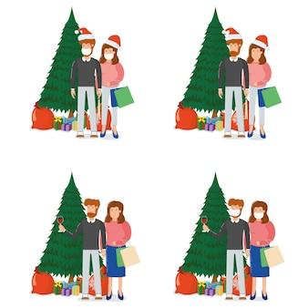 Bella coppia uomo donna carattere in piedi albero di natale abete con confezione regalo, buon natale souvenir borsa cartone animato, isolato su bianco. concetto felice famiglia vacanze di capodanno, persona carina.