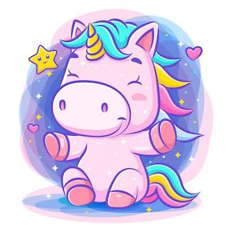 Unicorno carino adorabile si siede e sorride