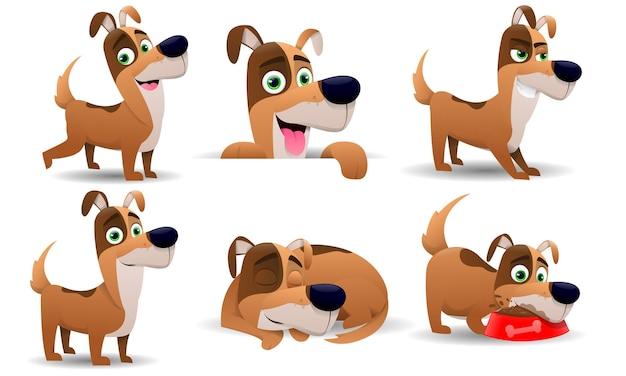 Cani adorabili con personalità e posture diverse
