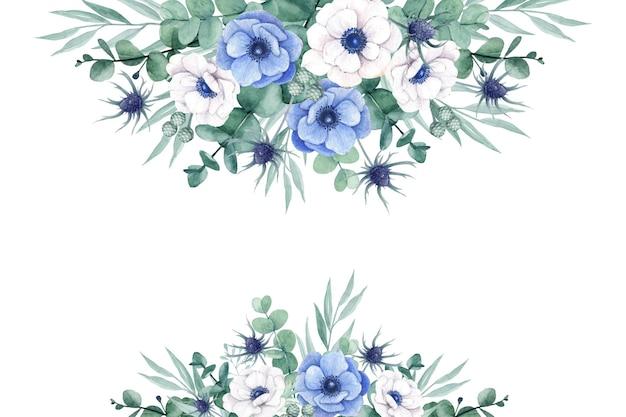 Bellissimo floreale con fiori di eucalipto e anemone acquerellati