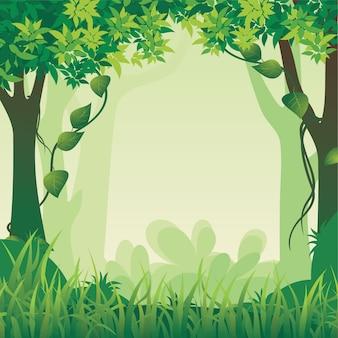 Bella illustrazione del paesaggio forestale con