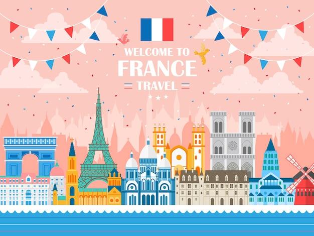 Manifesto di celebrazione di vacanza bella francia con attrazioni