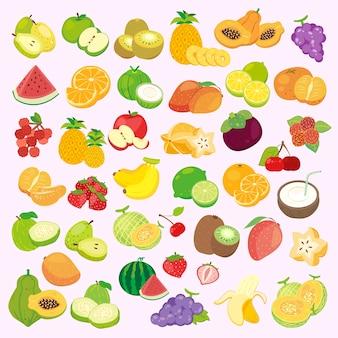 Belle collezioni di frutta ambientate in stile cartone animato
