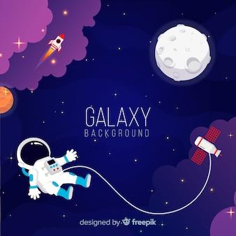 Splendido sfondo galassia con design piatto