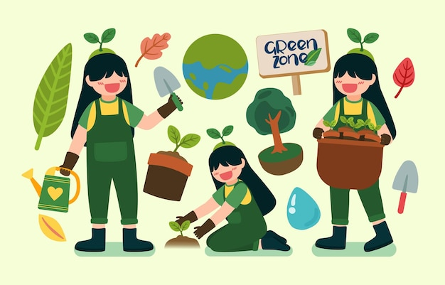 Bella ragazza aiuta a piantare alberi in una felice giornata della terra nel personaggio dei cartoni animati
