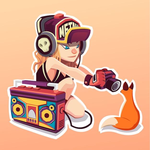Bella ragazza che ascolta una musica in cuffia. illustrazione di arte. la ragazza e la volpe. etichetta.