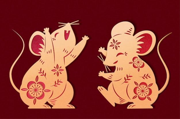 Graziosi topolini in carta color oro con motivi floreali vuoti