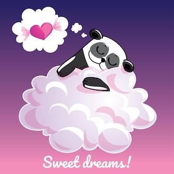 Una bella cartolina d'auguri con un panda disegnato a mano che dorme sulla nuvola e un messaggio di testo di esempio sogni d'oro, illustrazione