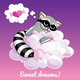 Una bella cartolina d'auguri con un procione disegnato a mano che dorme sulla nuvola e un messaggio di testo di esempio sogni d'oro, illustrazione
