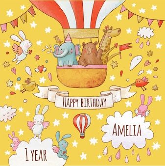 Cartolina di buon compleanno adorabile in vivaci colori estivi dolci animali elefante orso e giraffa