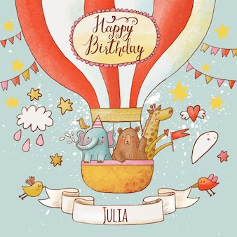 Cartolina di buon compleanno adorabile in vivaci colori estivi