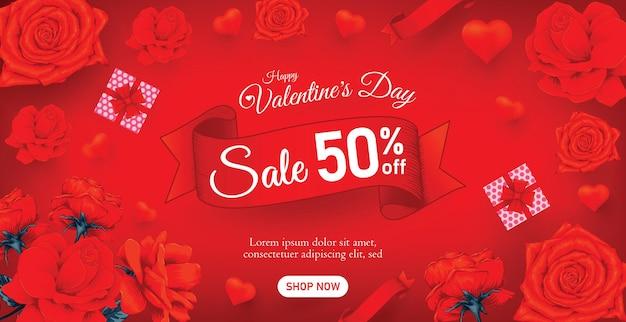 Bella bandiera o poster di vendita di san valentino felice con fiori di rosa rossa.