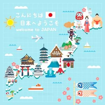 Bella mappa di viaggio del giappone ciao e benvenuto in giappone in giapponese