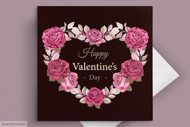 Modello di carta di san valentino adorabile marrone rossiccio