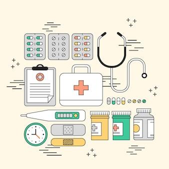Adorabile concetto di forniture di farmaci in stile linea