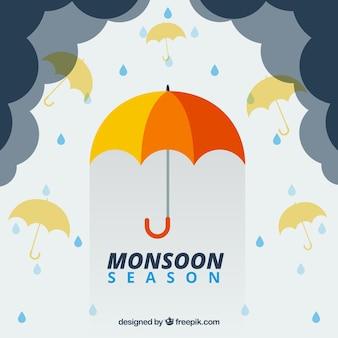 Bella composizione stagione dei monsoni con design piatto