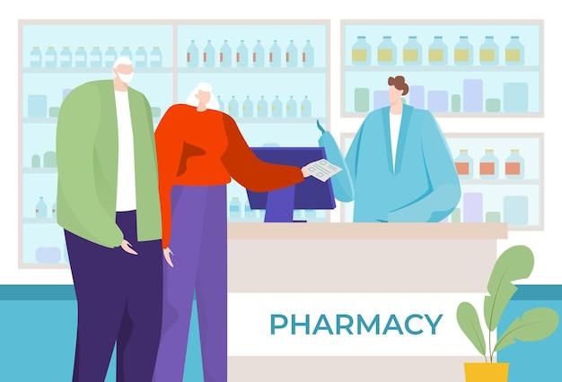 Bella vecchia coppia acquista farmacia medica droga persone illustrazione del carattere