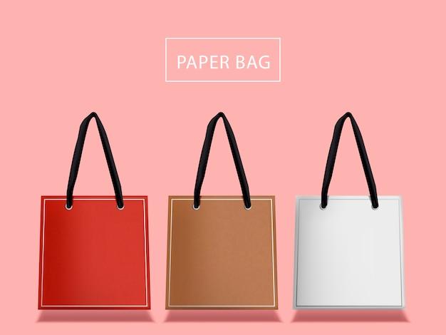 Set di sacchetti di carta adorabili, tre sacchetti con manico isolato
