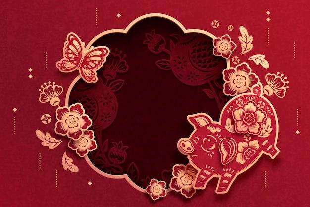 Bella carta tagliata sfondo con cornice decorativa di maiale e fiori