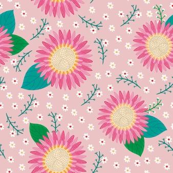 Modello senza cuciture adorabile fiore rosa su sfondo rosa