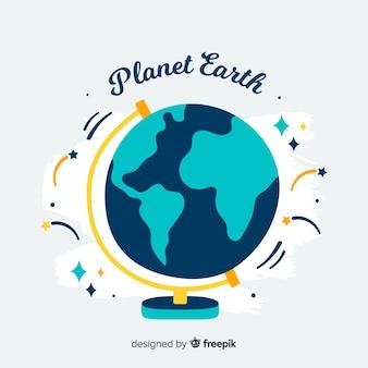 Lovely pianeta terra con design piatto